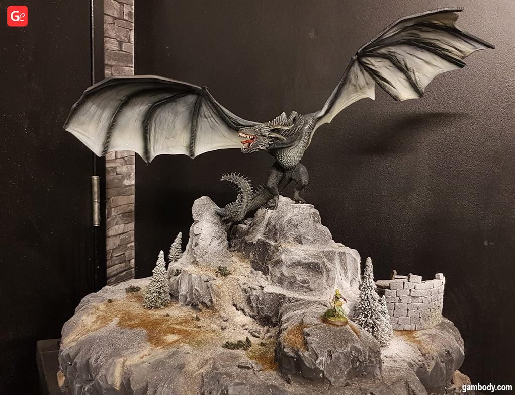 3D printed dragon and wargaming terrain