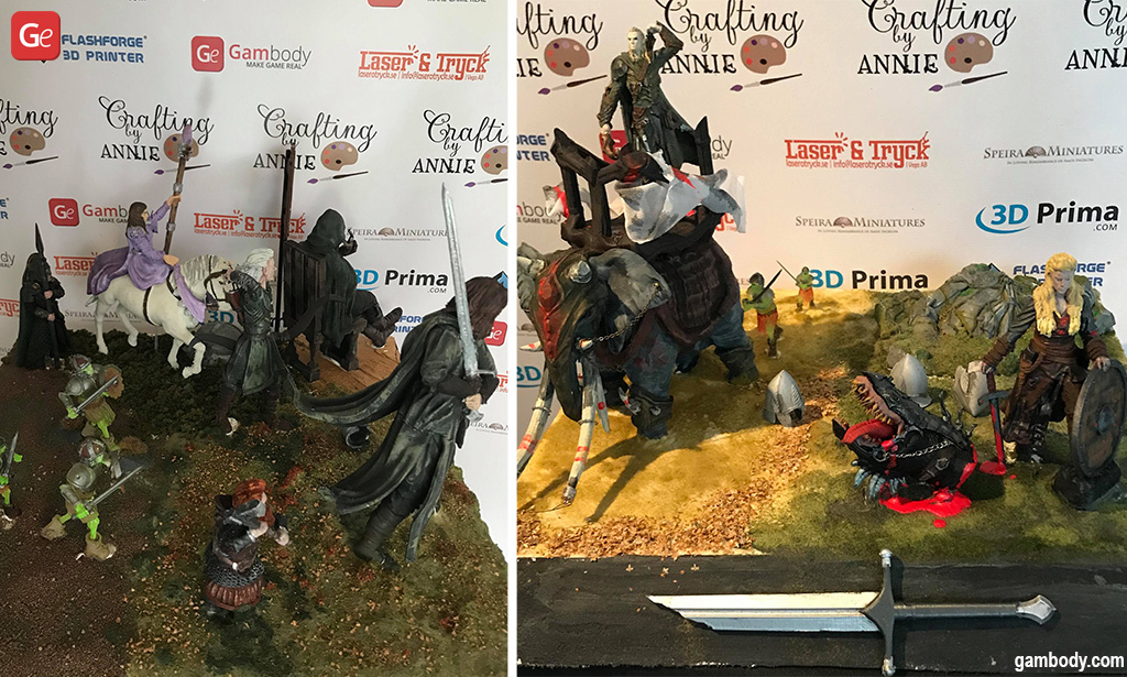 3D printed Lord of the Rings miniatures collection