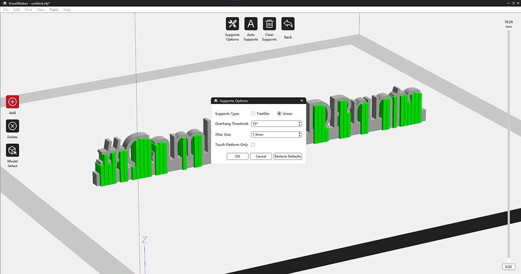 Setting supports in VoxelMaker