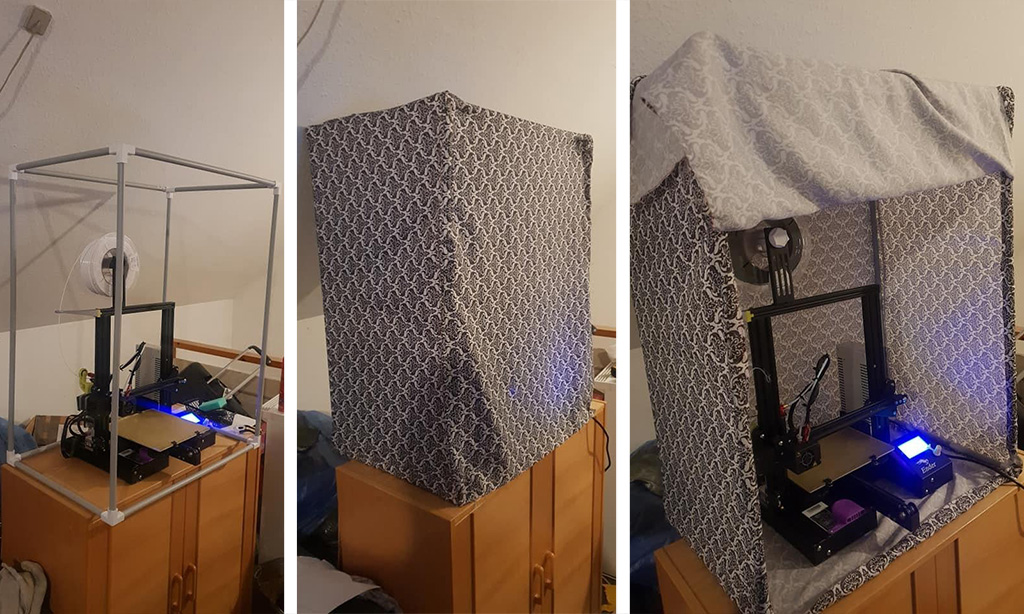 Cheap 3D printer enclosure made of the mill photo tent