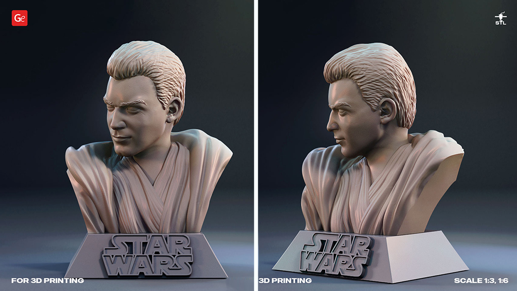 Obi-Wan Kenobi figure bust 3D model