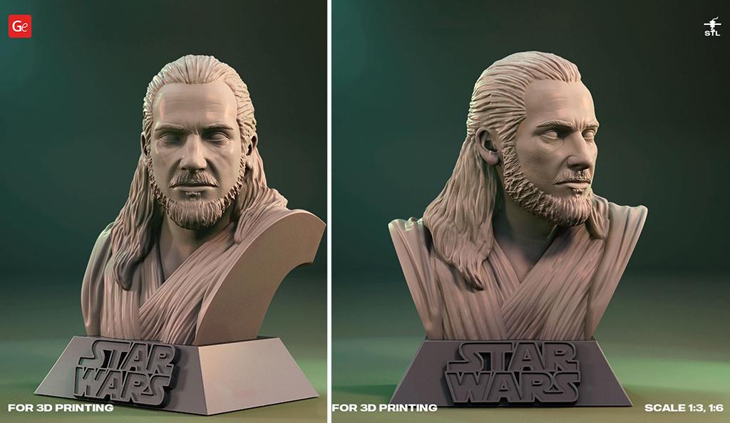 Qui-Gon Jinn figure bust 3D model