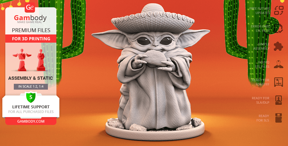 Buy Baby Yoda - Cinco de Mayo 3D Printing Figurine | Assembly