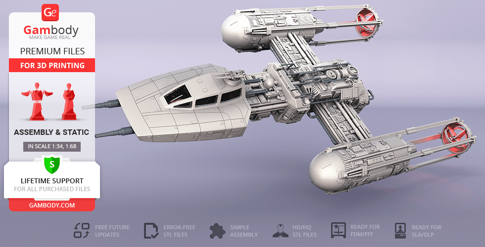 Buy Y-wing Starfighter 3D Printing Model | Assembly