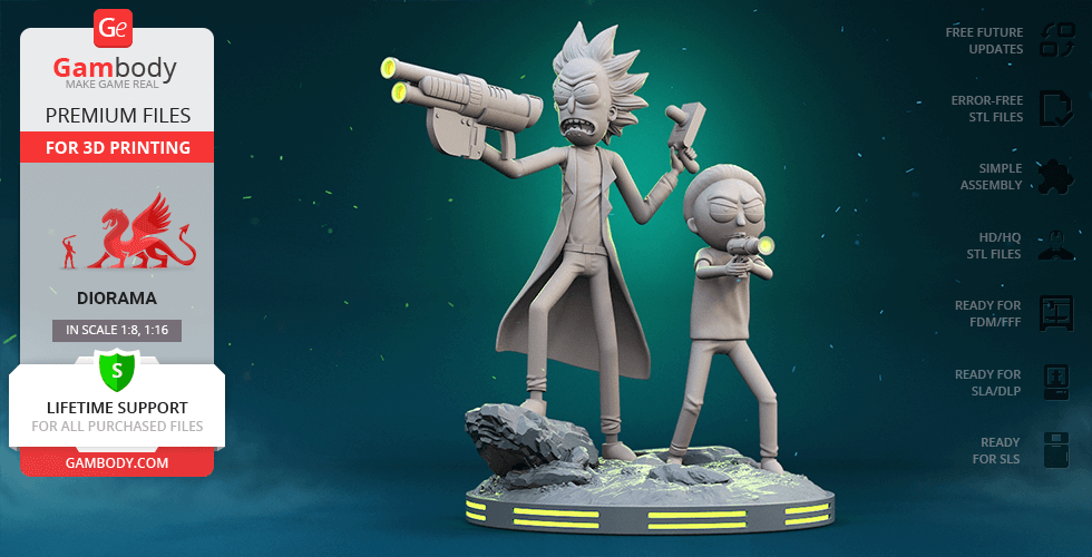 Buy Rick & Morty Fight Scene 3D Printing Figurines in Diorama | Assembly