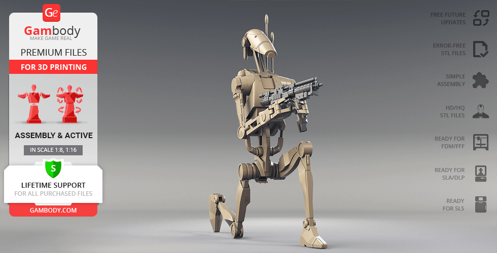 Buy B1 Battle Droid 3D Printing Model | Assembly + Action