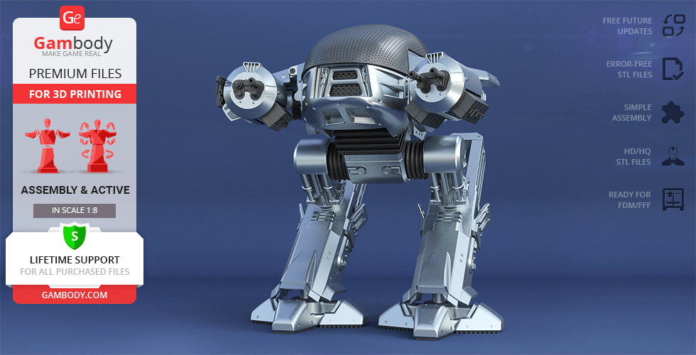 Buy OCP ED-209 (1987) 3D Printing Model | Assembly + Action