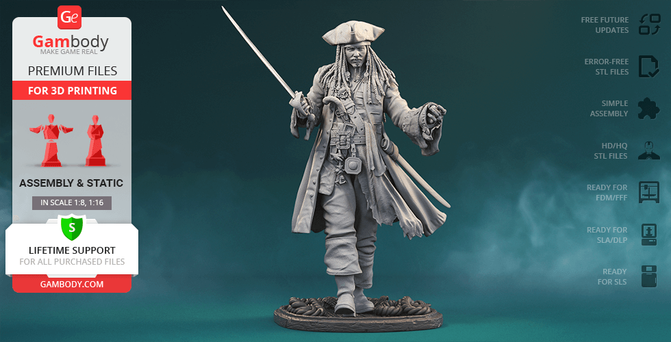Buy Jack Sparrow 3D Printing Figurine | Assembly