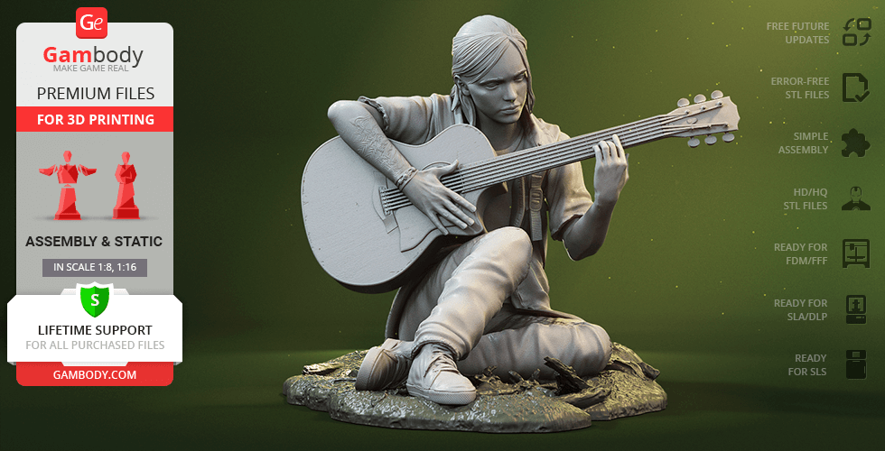 Buy Ellie with Guitar 3D Printing Figurine | Assembly