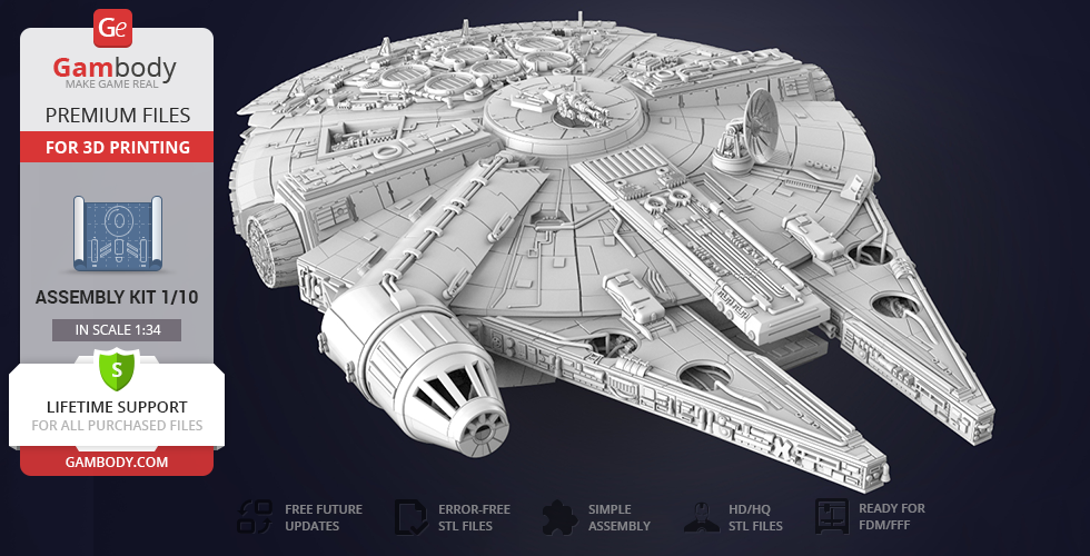 Buy Millennium Falcon 3D Print Model | Standard Assembly Kit