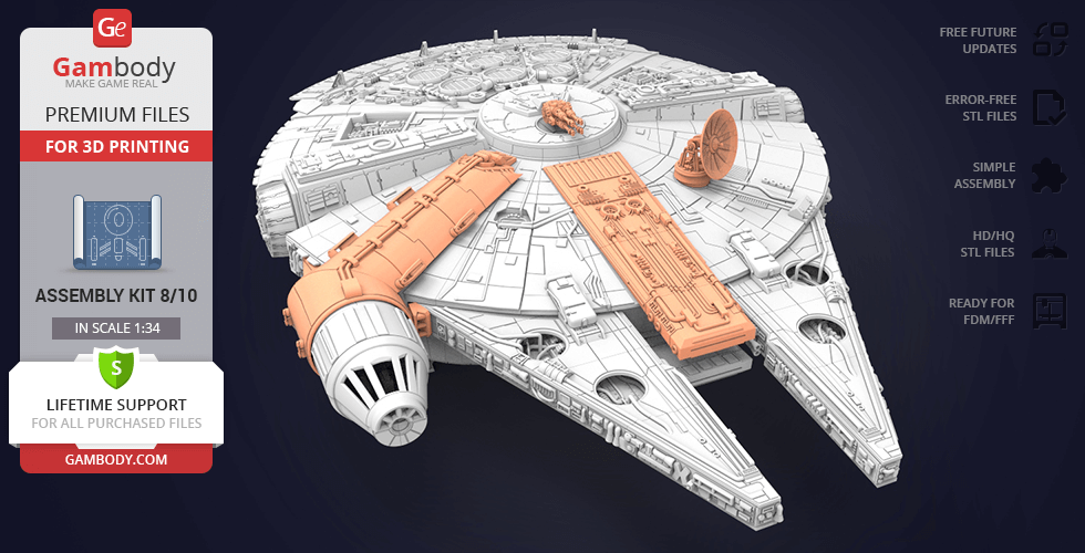 Millennium Falcon Gun, Antenna 3D Printable Exterior Parts Kit 3