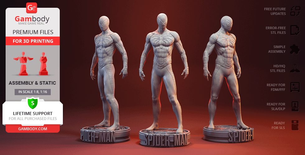 Buy Spider-Man Game Suit 3D Printing Figurine | Assembly