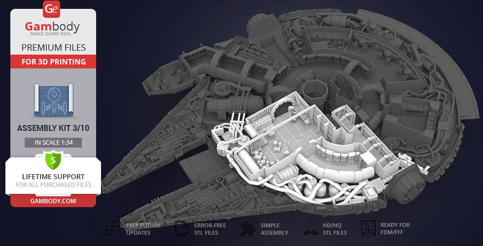 Buy Millennium Falcon Interior 3D Printable Parts Kit 3: Main Hold, Lounge Seat, Technical Station