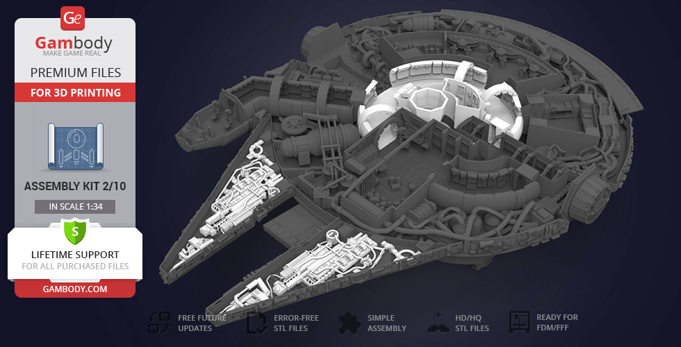 Buy Millennium Falcon Interior 3D Printable Parts Kit 4: Mandibles, Engine and Quad Laser