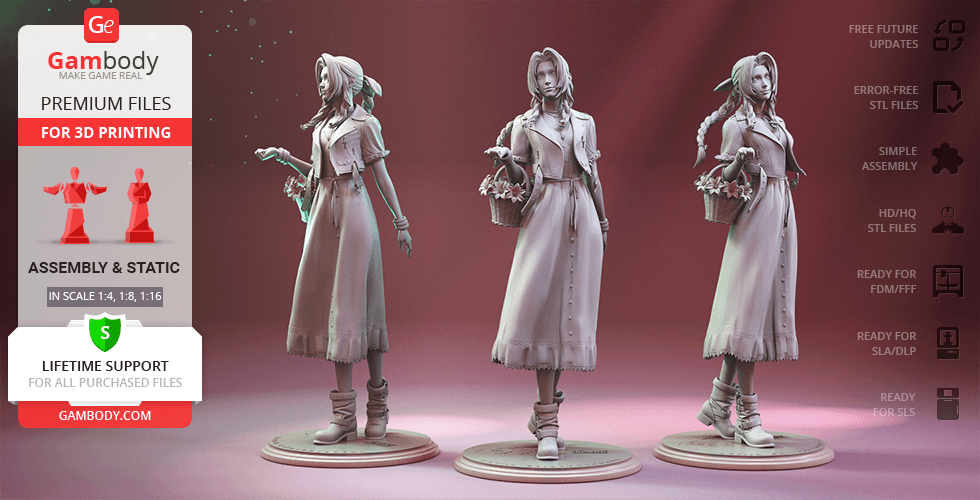 Buy Aerith Gainsborough 3D Printing Figurine | Assembly