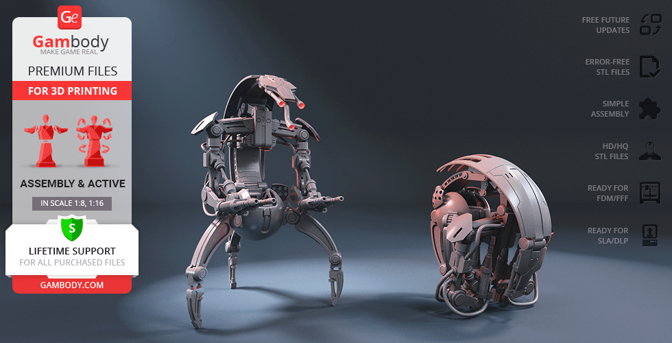 Buy Droideka 3D Printing Model | Assembly + Action
