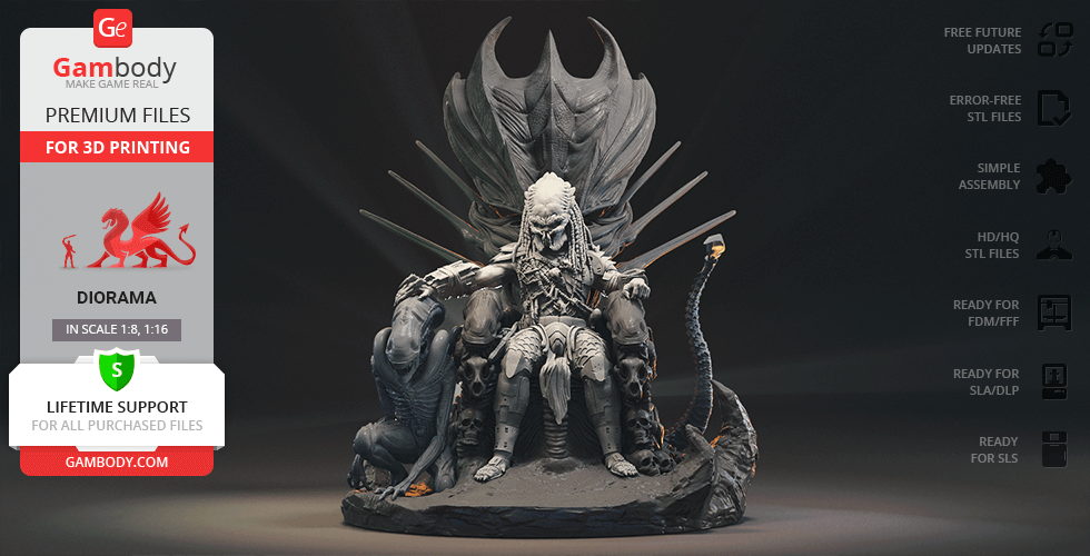 Buy Predator on Throne 3D Printing Figurine in Diorama   Assembly