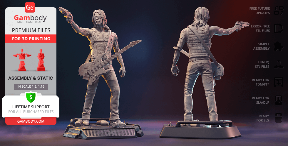 Buy Johnny Silverhand 3D Printing Figurine | Assembly