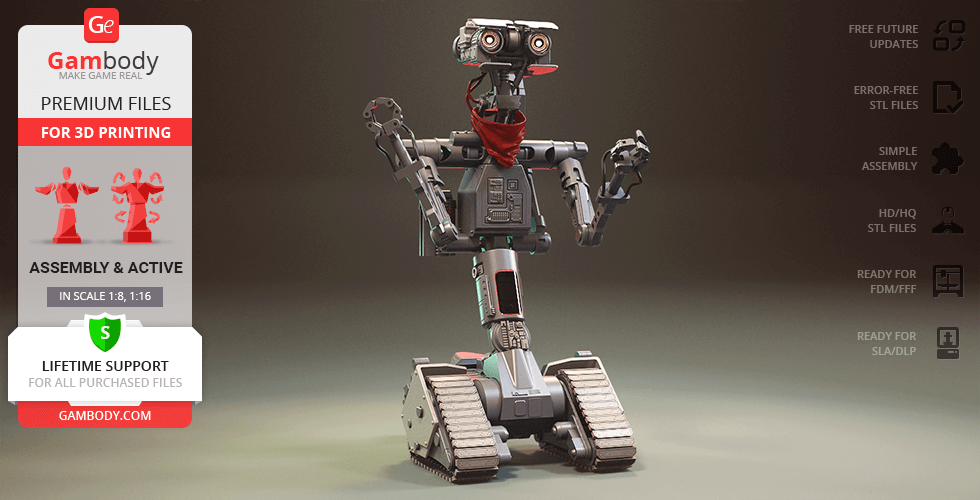 Buy Johnny 5 3D Printing Model   Assembly + Action