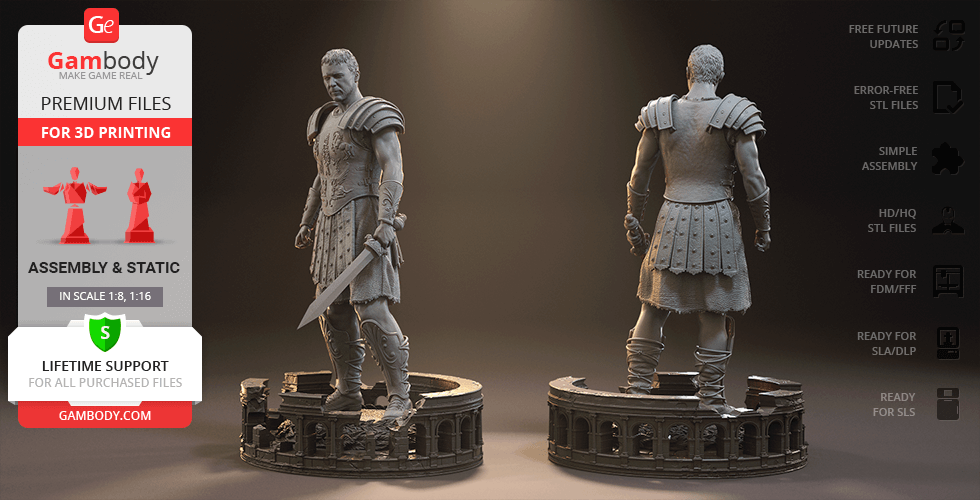 Buy Gladiator Maximus 3D Printing Figurine | Assembly