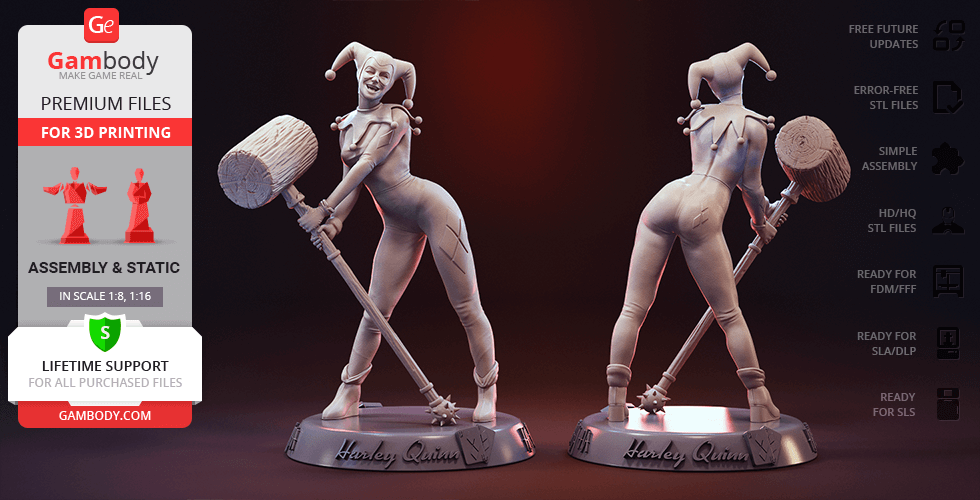 Buy Harley Quinn 3D Printing Figurine | Assembly