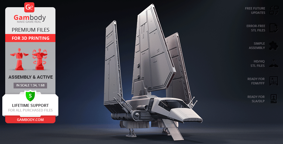 Buy Imperial Shuttle 3D Printing Model   Assembly + Action