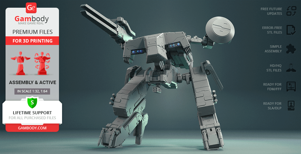 Buy Metal Gear REX 3D Printing Model | Assembly + Action