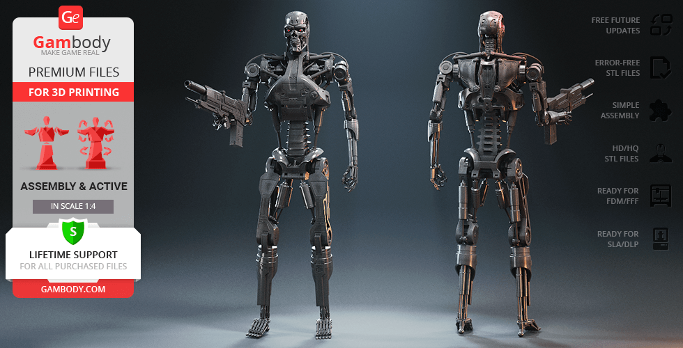 Buy T-800 Endoskeleton 3D Printing Figurine | Assembly + Action