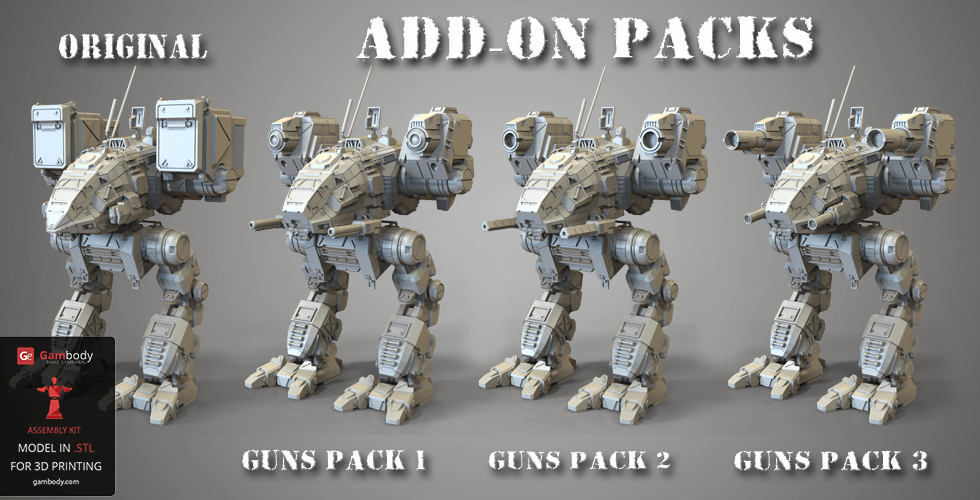 Buy Mech Warrior Weapons Add-on Packs for 3D Printing