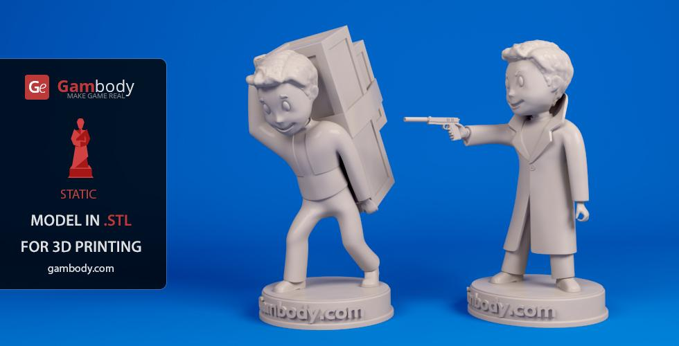 Buy Vault Boy: Spy and Carry Weight 3D Print Files | Static Figures