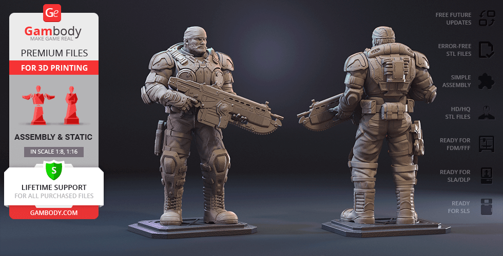 Buy Marcus Fenix 3D Printing Figurine | Assembly