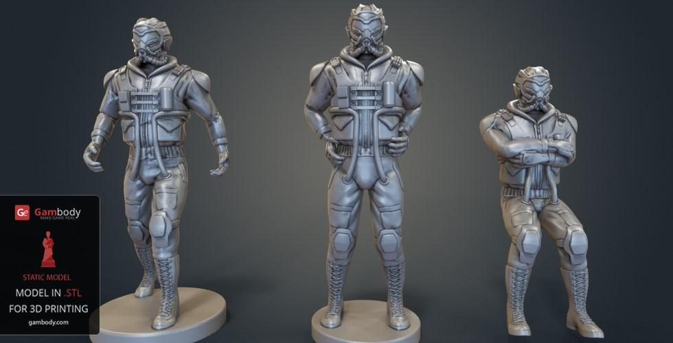Buy BattleMech Male Pilots 3D Printing Files for SLS/SLA | Static