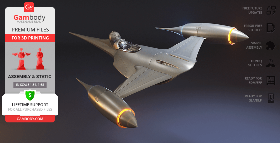 Buy Naboo N-1 Starfighter 3D Printing Model   Assembly