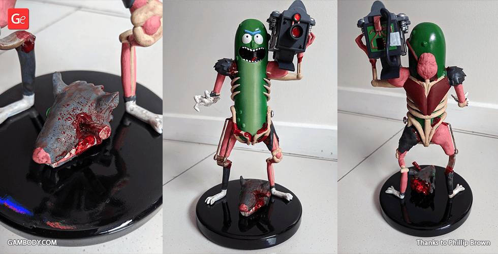 Buy Pickle Rick With Guns 3D Printing Model | Assembly