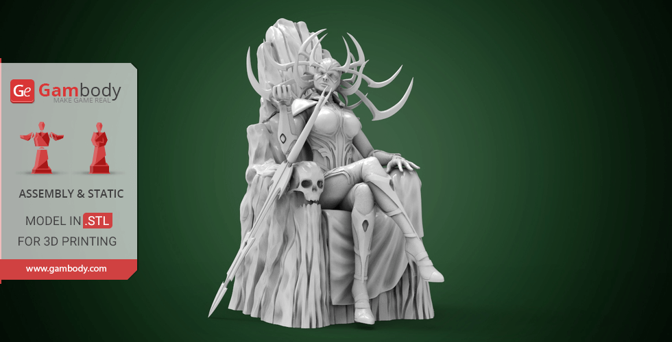 Buy Hela on Throne 3D Printing Miniature | Assembly