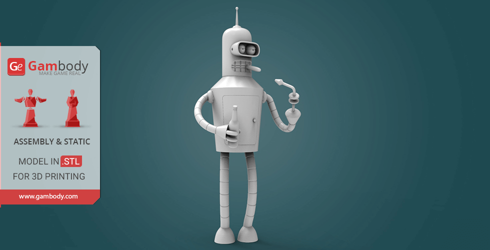 Buy Bender from Futurama 3D Printing Miniature | Assembly