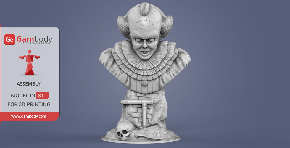Buy Pennywise Pencil Holder Bust 3D Miniature | Assembly