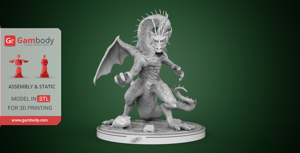 Buy Fin Fang Foom 3D Printing Miniature | Assembly
