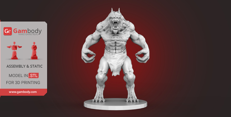 Buy Werewolf 3D Printing Miniature | Assembly