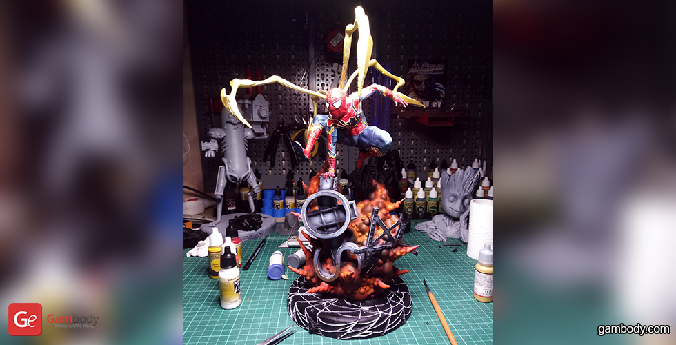 Buy Spider-Man Explosion Scene 3D Printing Miniature | Assembly