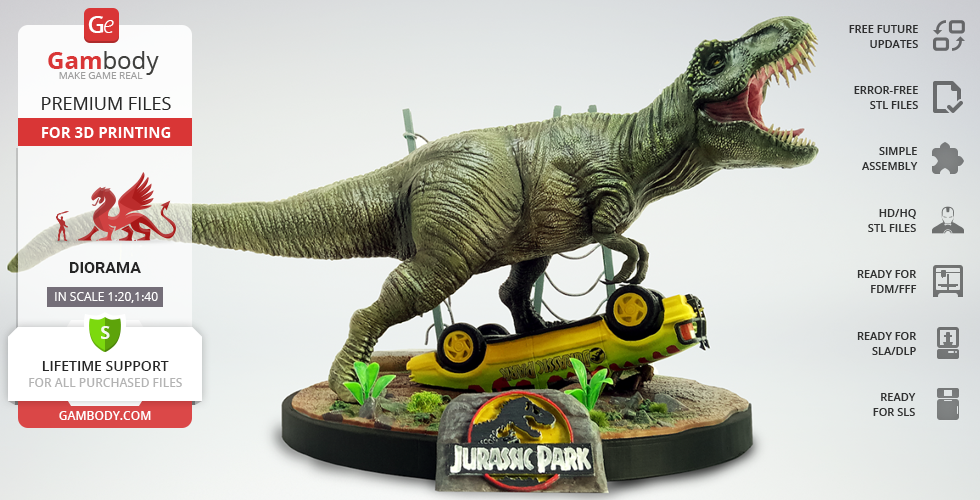 Buy Jurassic Park 25th Anniversary 3D Figurine of Diorama | Assembly