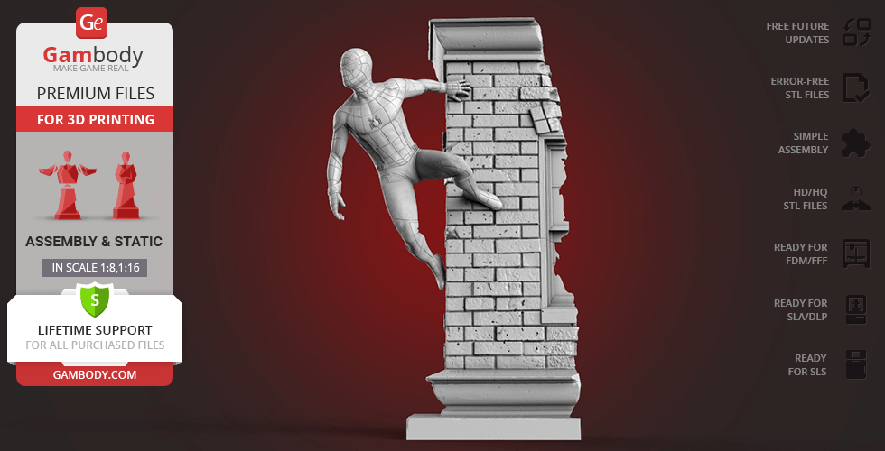 Buy Spider-Man Wall Crawler 3D Printing Figurine | Assembly