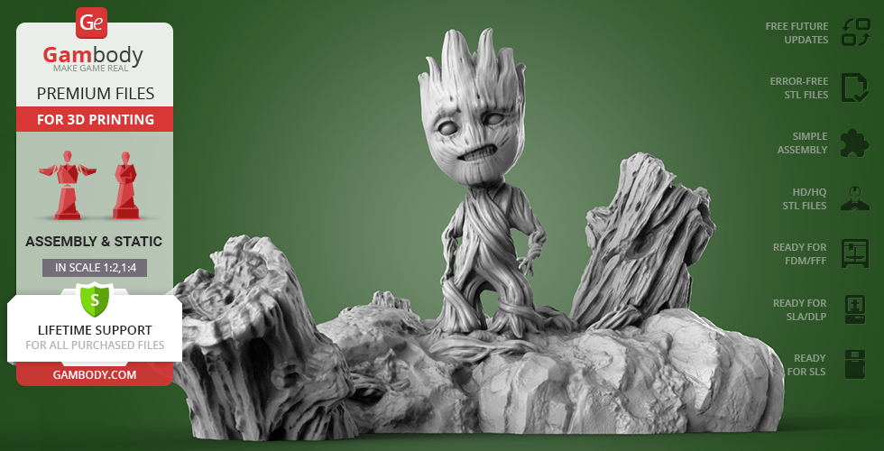 Buy Baby Groot 3D Printing Figurine | Assembly