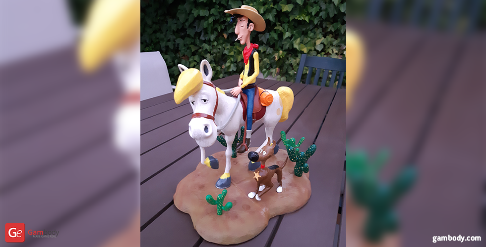 Buy Lucky Luke 3D Printing Figurine | Assembly