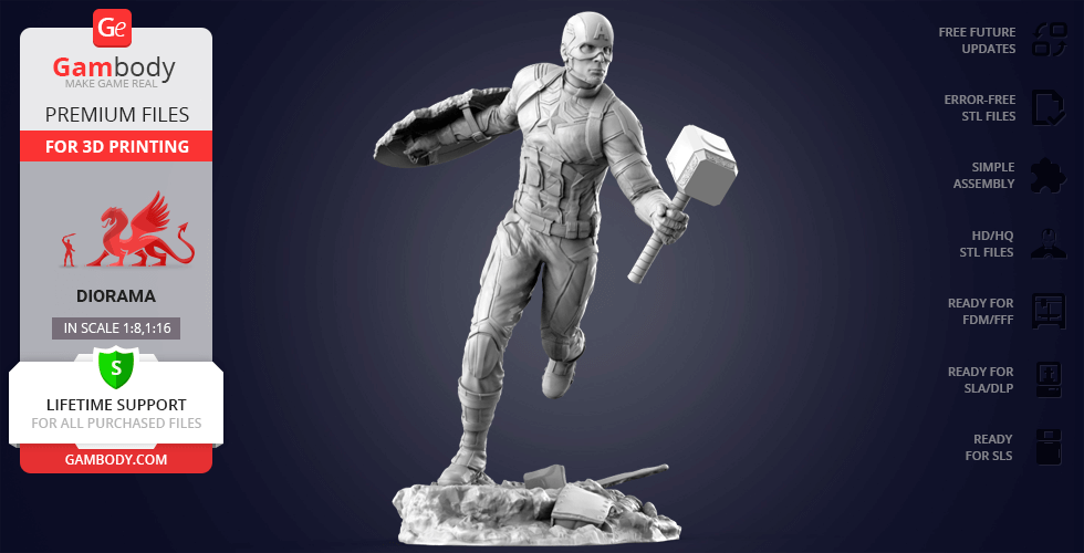 Captain America 3D Printing Figurine | Assembly