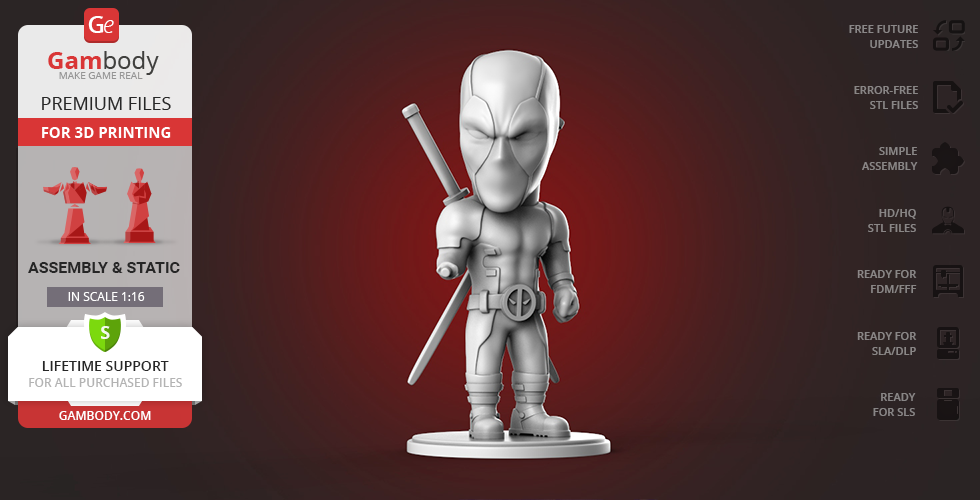 Buy Chibi Deadpool 3D Printing Figurine | Assembly