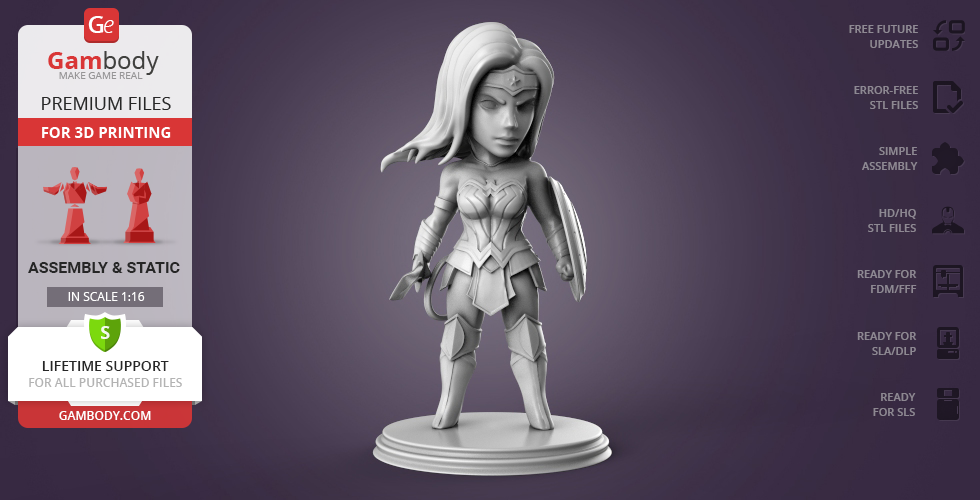 Buy Chibi Wonder Woman 3D Printing Miniature | Assembly