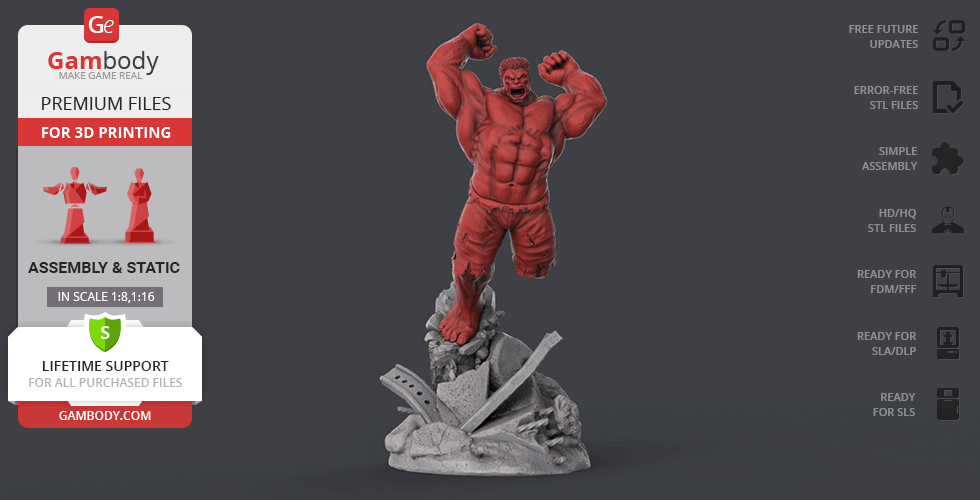 Buy Red Hulk 3D Printing Figurine | Assembly