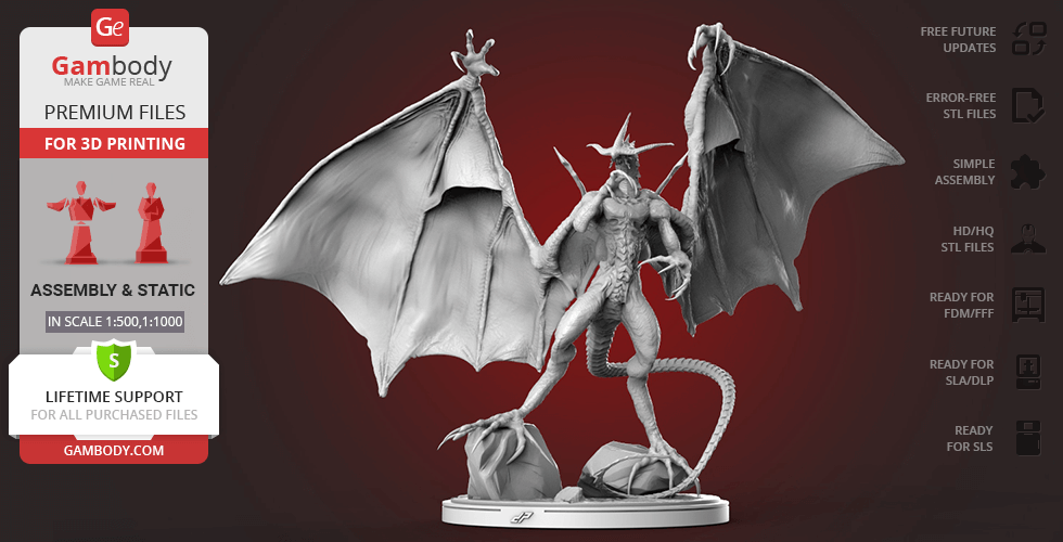 Buy Bahamut Final Fantasy 3D Printing Figurine | Assembly