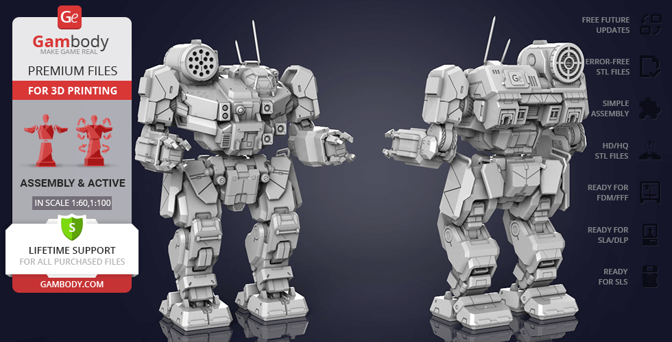 Buy MWO Thunderbolt 3D Printing Model | Assembly + Action